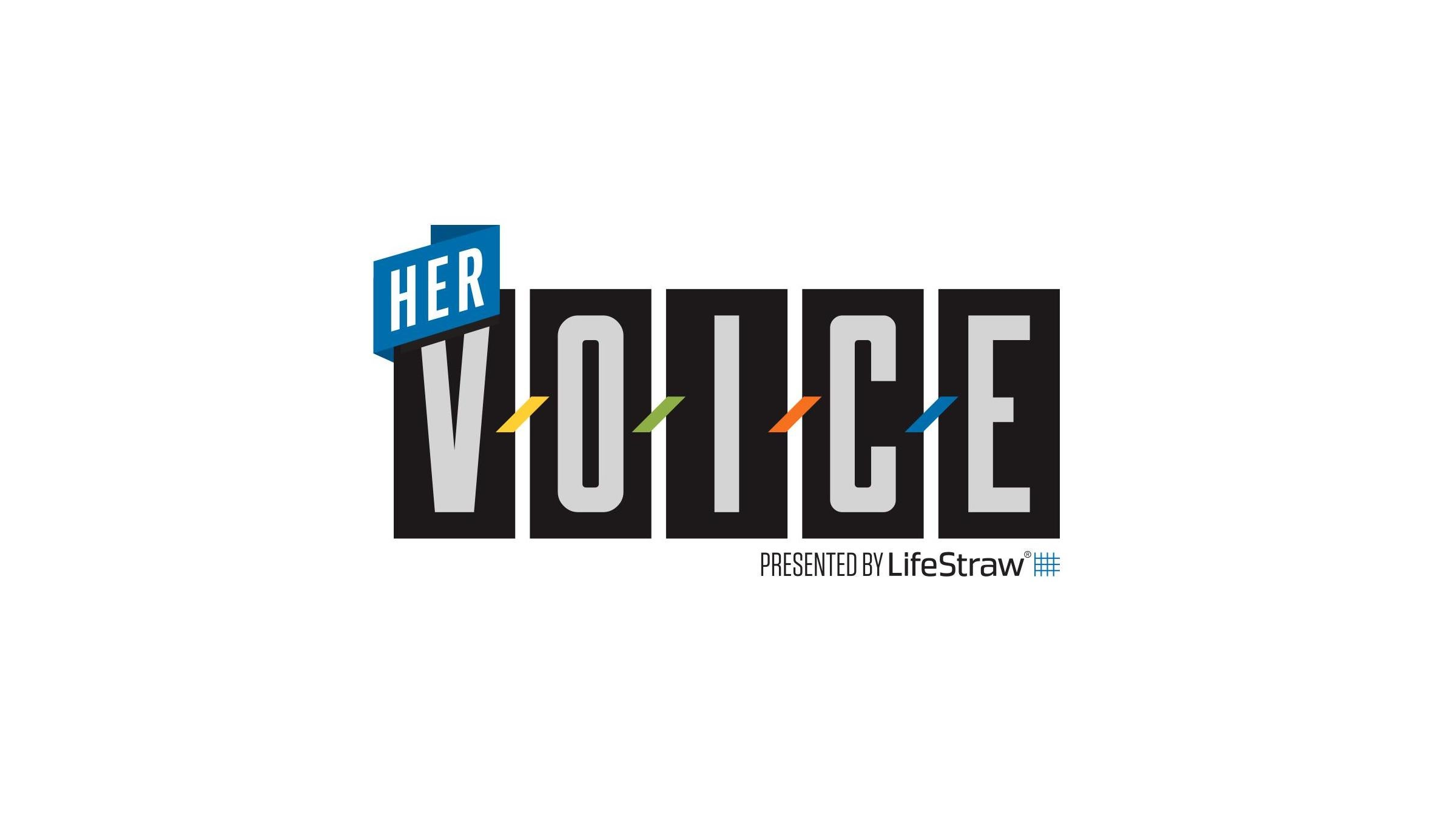 Logo for Her Voice presented by Lifestraw